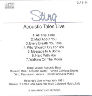 Sting / The Police - Acoustic Tales Live In New York 1991