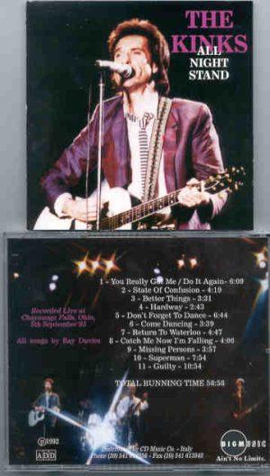 The Kinks - All Night Stand ( Chayauoga Falls , Ohio , USA , September 5th , 1985 ) ( Big Music )