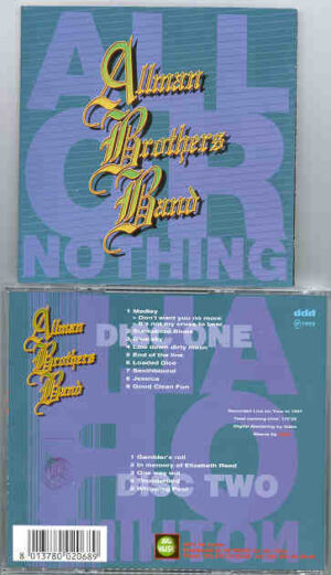 Allman Brothers Band - All or Nothing ( 2 CD!!!!! SET ) ( Big Music ) ( Live on Tour 1991 )