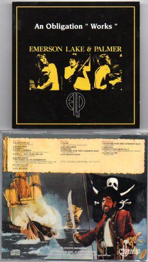"Emerson , Lake & Palmer - An Obligation ""Works"" ( Highland ) ( 2 CD!!!!! set ) ( Civic Center , Hartford , CT , July 10th , 1977 )"