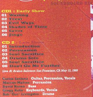 Santana - Avalon Ballroom ( 2 CD!!!!! SET ) ( San Francisco , CA , USA , May 13th , 1968 )