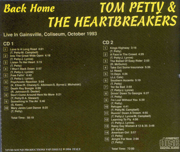 Tom Petty - Back Home ( 2 CD!!!!! set ) ( Live In Gainesville , Coliseum , October 1993 )