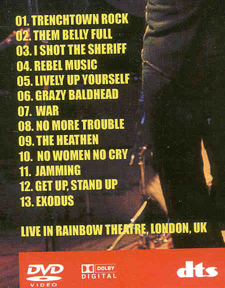 DVD Bob Marley - Over The Rainbow ( Live in London , UK )