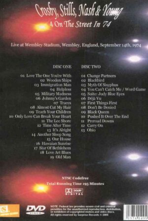 DVD Neil Young - 4 On The Street in '74 ( 2 DVD ) ( CSN&Y Live At Wembley Stadium , Wembley , England , September 14th , 1974 )