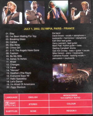DVD David Bowie - Live In Paris 2002  ( Olympia , Paris , France , July 1st , 2002 )