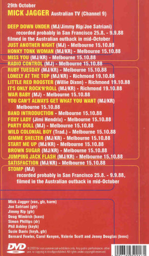 DVD The Rolling Stones - Deep Down Under ( Mick Jagger in Australia 1988 )