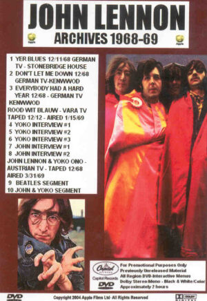 DVD John Lennon - Archives 1968 - 1969