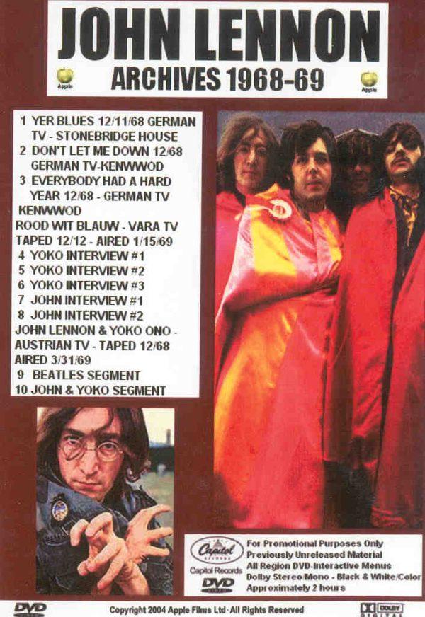 DVD John Lennon - Archives 1968 - 1969