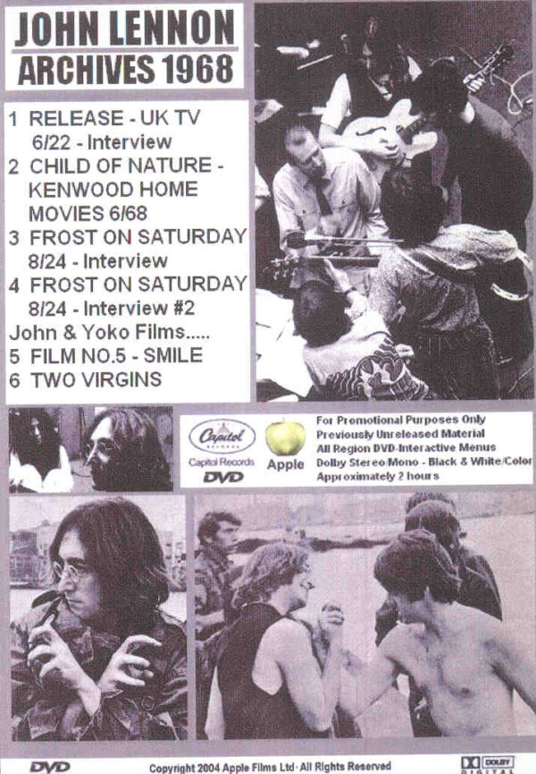 DVD John Lennon - Archives 1968