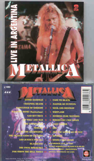 Metallica - Live In Argentina 1993 ( 2 CD!!!!! SET )( Big Music ) ( Velez Sarsfield Stadium , Buenos Aires , May 8th ,  1993 )