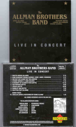 Allman Brothers Band - Live In Concert ( USA 1973 ) ( Living Legend )