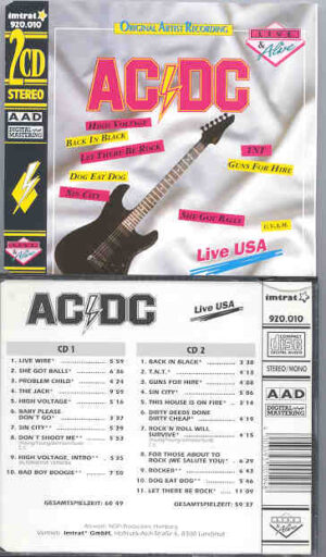Ac-Dc - Live in USA Vol. 1/2 ( 2 CD!!!!! set )