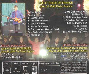 DVD Paul McCartney - An Evening At The Stade ( Paris , France , June 24th , 2004 )