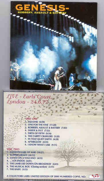 P  Gabriel / GENESIS / P  Collins - Robbery , Assault & Battery ( BBC  Broadc  Earls Court , 6/24/77 ) ( 2 CD SET )