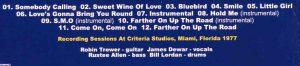 Robin Trower - Alternate in City Dreams ( Recording Sessions at criteria Studios , Miami ,Fl , 1977 )