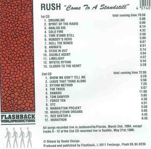 Rush - Come To A Standstill ( Jacksonville , Florida , USA , 1994 ) ( Flashback ) ( 2 CD!!!!! SET )