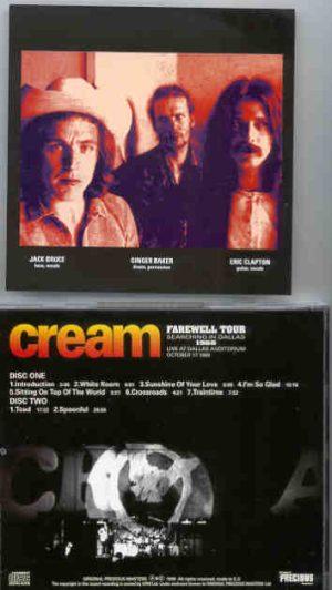 Cream - Searching In Dallas 1968 ( 2 CD!!!!! set ) ( CREAM at Dallas Auditorium , October 17th , 1968 )