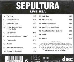 Sepultura - LIVE In USA 1993