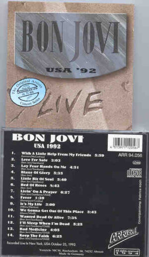 Bon Jovi - Bon Jovi LIVE IN USA 1992 ( New York , October 25th , 1992 )