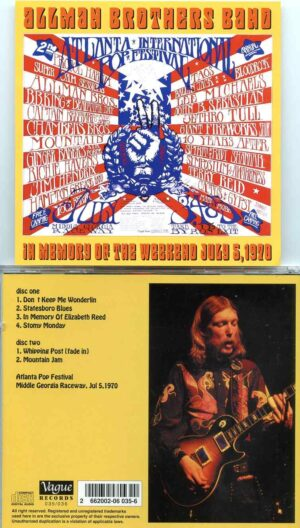 ALLMAN BROTHERS BAND - In Memory Of The Weekend July 5th ( 2 cd set )( Middle Georgia Raceway , July 5th , 1970 )