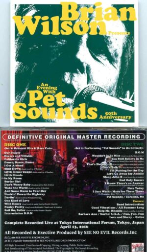 An Evening With Pet Sounds ( 2 cd set )( Brian Wilson Live in Tokyo, Japan, April 13th, 2016 )
