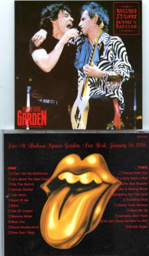 Rolling Stones - Back to the Garden ( 2 cd set ) ( VINYL GANG ) ( MSG, New York, January 14th, 1998 )Boston You're Big Enough ( X'Pensive Winos at Orpheum Theatre, Boston, Mass, December 5th, 1988 )