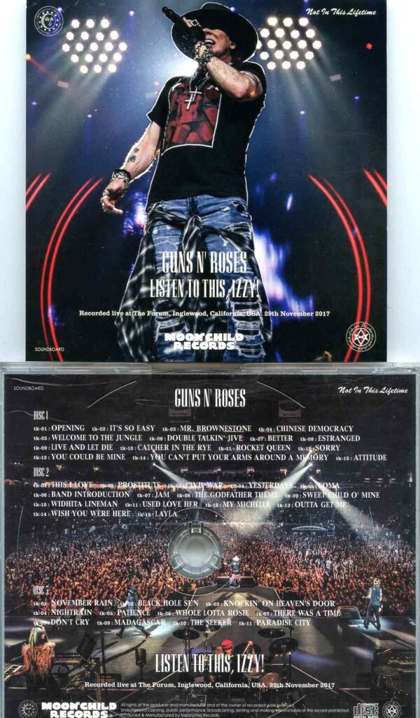 Guns And Roses - Listen To This , Izzy ! ( 3 CD SET ) ( The Forum, Inglewood, California, USA, Nov 29th, 2017 )