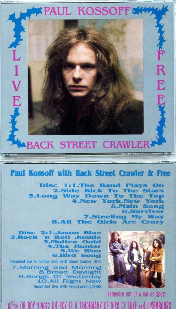 Paul Kossoff - Live Back Street Crawler & Free ( 2 CD SET ) ( Oh Boy Recs ) ( Europe 1975 & London 1968 )